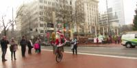 Santa Acrobatic Stunt While Riding Unicycle In America