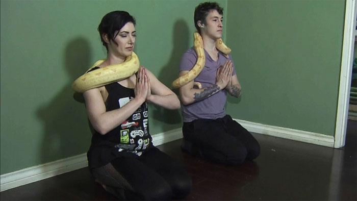 سانپ جسم سے لپیٹ کر یوگا کرنے کا انوکھا انداز