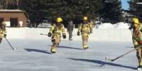 Firefighters Make Fun With Ice Hockey Game In Full Bunker Gear Wyoming