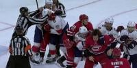 Furious Brawl During Nhl Ice Hockey Match