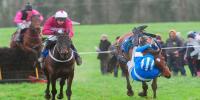 Jockey Almost Falls Off And Still Wins