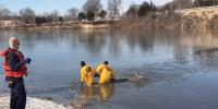 Firefighters Rescue Deer From Frozen Lake
