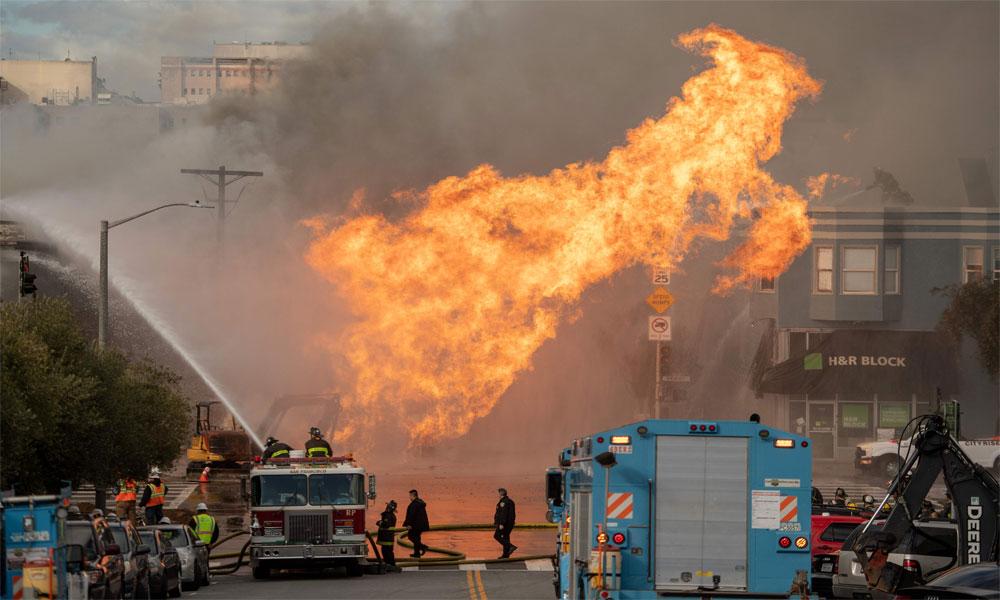 سان فرانسسکو میں گیس لائن دھماکا، کئی عمارتیں جل کر تباہ