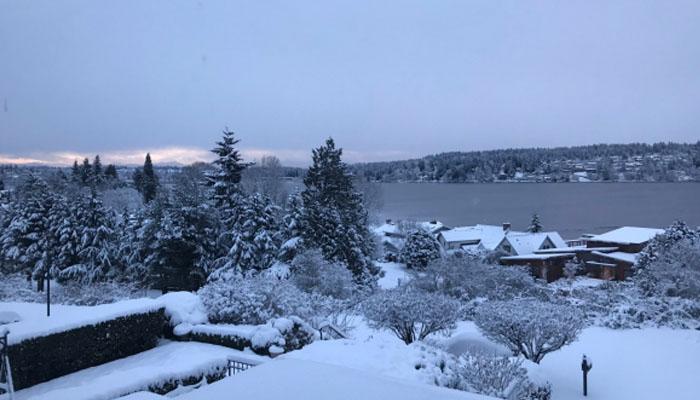 واشنگٹن میں برفباری، سڑکیں برف سے ڈھک گئیں