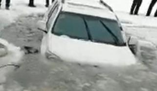 Drifting Car On Frozen River Goes Wrong End Up Breaking Through Thin Ice China