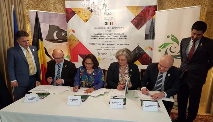پاکستان اور بیلجئیم میں تجارت کیلئیے ایم او یو پر دستخط