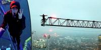 Fearless Daredevils Film Themselves On Crane