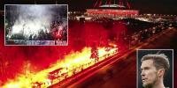 Zenit Fans Give Team Fiery Welcome