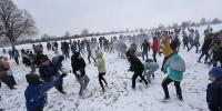 Huge Snowball Battle Held In Russia