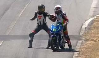 Fight Breaks Out During Motorcycle Race