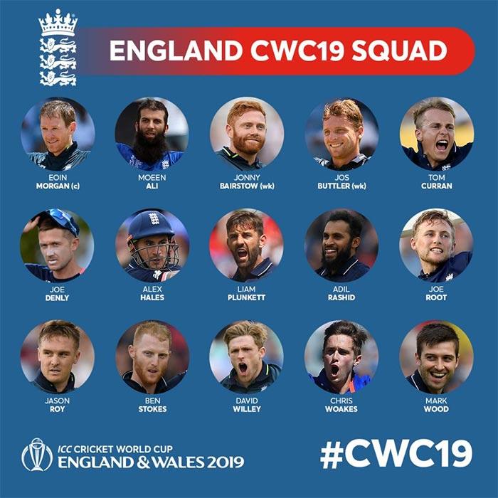 ورلڈ کپ کیلئے انگلینڈ کے 15رکنی اسکواڈکا اعلان