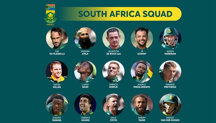 جنوبی افریقا کی 15 رکنی ٹیم کا ورلڈ کپ کے لیے اعلان