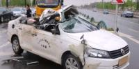 Out Of Control Lorry Slides Into Car And Rips Its Roof Off In China