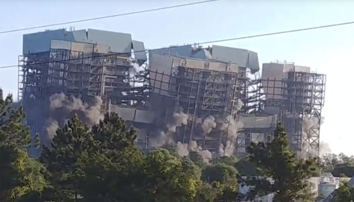 امریکا:کول پاور اسٹیشن دھماکا خیز مواد سے زمین بوس کردیا گیا