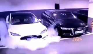 Parked Tesla Car Bursts Into Flames In Shanghai Video Is Viral