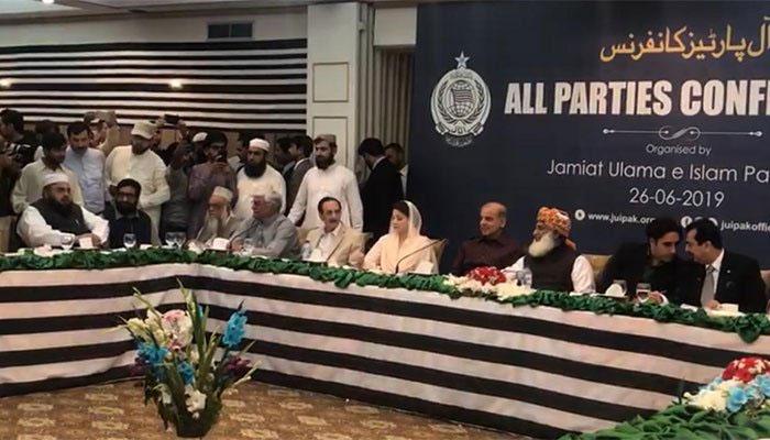 اپوزیشن جماعتوں کا اے پی سی اجلاس