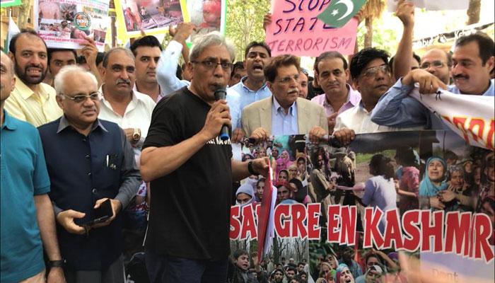 بارسلونا : یوم شہدائے کشمیر پر راجہ فاروق کی زیرقیادت ریلی