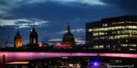 First Of 15 Bridges Lit Up Across The River Thames