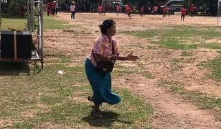 Grandmother Gets Carried Away Cheering On Her Grandson At Football Match Thailand
