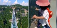 Baby Step Fearless 3 Year Old Girl Walk Onto 260m High Glass Bridge In China