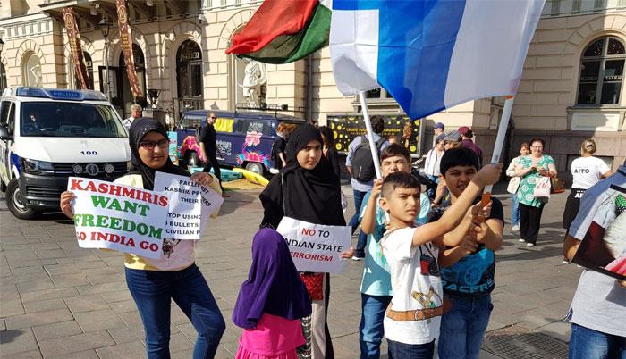 مقبوضہ کشمیر میں مظالم کے خلاف فن لینڈ میں احتجاج