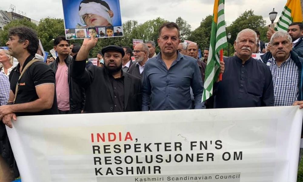 اوسلو، مقبوضہ کشمیر کے عوام پر مظالم کے خلاف مظاہرہ