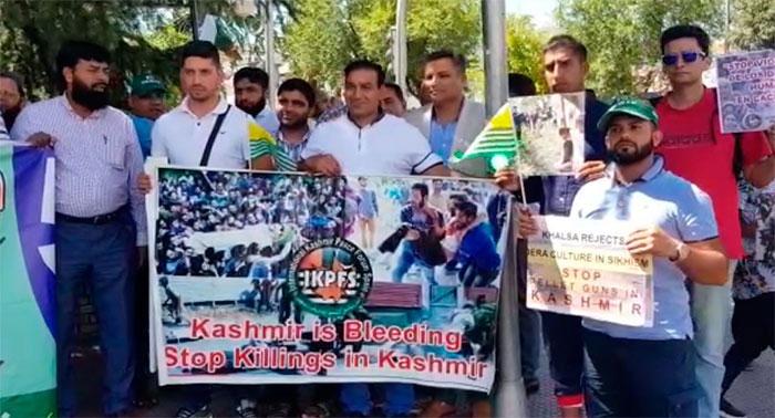 اسپین: بھارتی سفارت خانے کے سامنےکشمیریوں کے حق میں مظاہرہ
