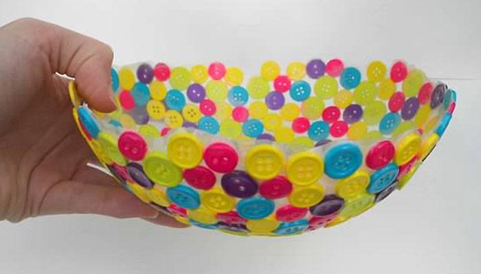 رنگ برنگے بٹن سے بنائیں خوبصورت پیالہ