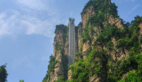 Breathtaking View Of Giant Outdoor Elevator In Zhangjiajie China