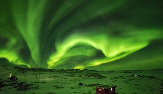 Aurora Dances Brightly Above Antarctica