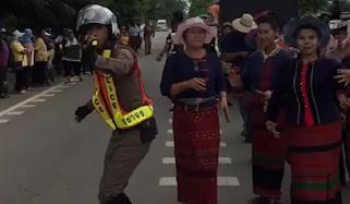 Dancing Cop Struts His Stuff And Blows His Whistle To The Music As He Directs Traffic