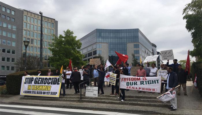 یورپین کمیشن برسلز کے سامنے کشمیریوں کا مظاہرہ