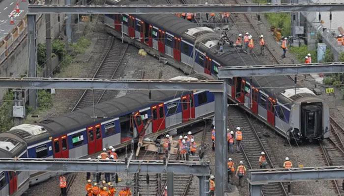 ہانگ کانگ:مسافر ٹرین پٹری سے اتر گئی، 8 افراد زخمی