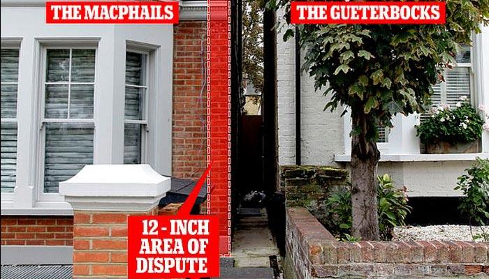 برطانیہ کے ارب پتی ہمسایوں میں 12انچ زمین پر قبضے کی جنگ