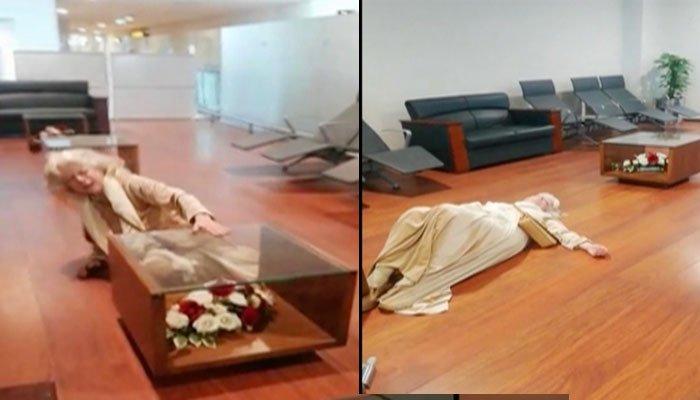امریکی خاتون اسلام آباد ایئر پورٹ کے فرش پر لیٹ گئی