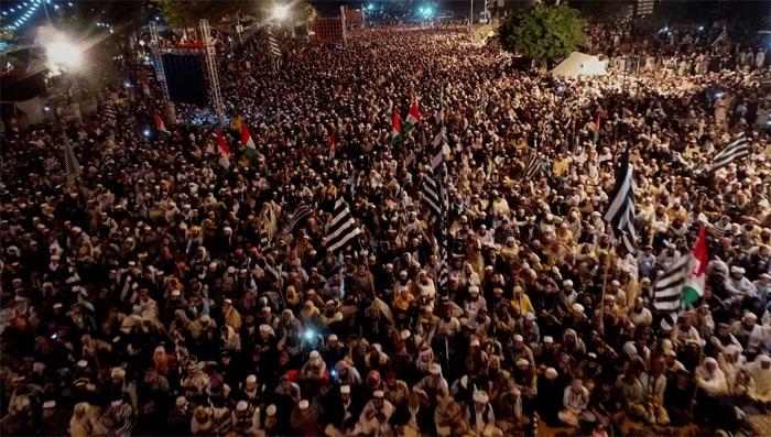 آزادی مارچ کی بارہویں شام کا فضائی منظر