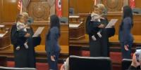 Watch Judge Comforts Baby While Swearing In The Mother As A Lawyer