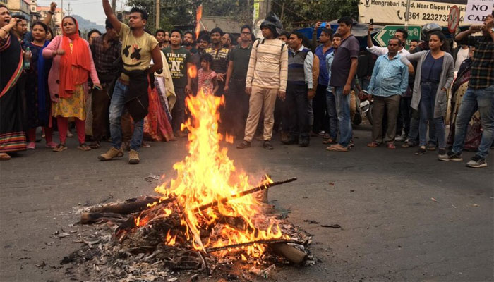 شہریت کا ترمیمی بل، شمالی مشرقی بھارت میں ہنگامے پھوٹ پڑے