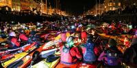 Kayaks Canoes Light Up Dark Winter Night In Copenhagen
