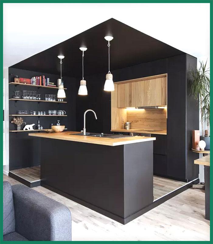 کچن ڈیزائنگ میں سیاہ رنگ