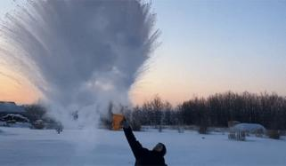 Boiling Water Freezes In Midair In Alberta