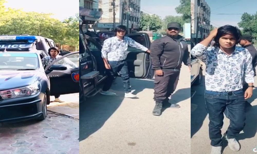 کراچی، پولیس موبائل میں بنی نئی ٹک ٹاک ویڈیو وائرل