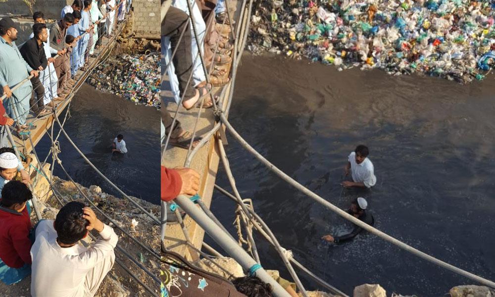 کراچی: نالے میں گرنے والی بچی کی تلاش آج بھی جاری