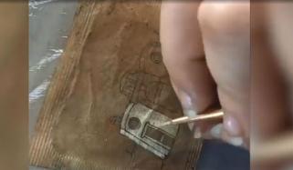 برطانیہ: استعمال شدہ ٹی بیگ پر خوبصورت پینٹنگز