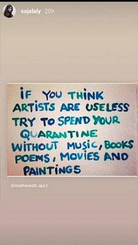 سجل علی نے زندگی میں فنکاروں کی اہمیت بتادی