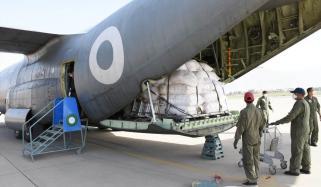 پاک فضائیہ کا سی 130 طبی سامان لیکر کوئٹہ پہنچ گیا