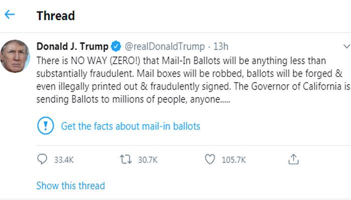 امریکی صدر کی ٹوئٹ پر ٹوئٹر کی وارننگ