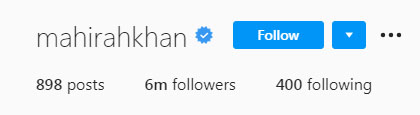 صبا قمر کے انسٹاگرام پر کتنے فالوورز؟