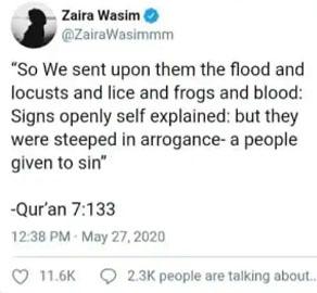 زائرہ وسیم کی ٹوئٹر اور انسٹاگرام پر واپسی