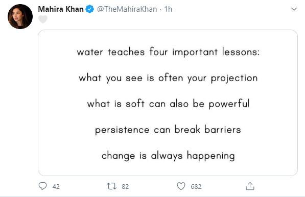 پانی 4 اہم سبق سکھاتا ہے، ماہرہ خان